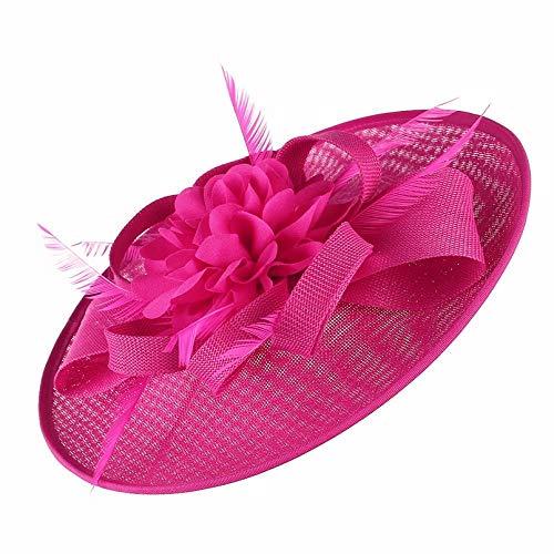 Cappelli Cappello da Sole Cappello da Donna con Piume Grandi per Cappello da Cocktail per Chiesa Cappello da Cocktail Rosa