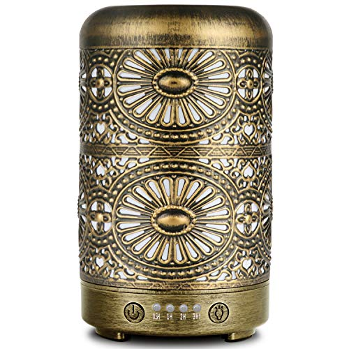 ARVIDSSON Diffusers For Essential Oils, Ultrasonic Cool Mist Aromatherapy Essential Oil Diffuser 100ml, Metal Aroma Oil Diffuser with Whisper-quiet Operation and Auto Shut-Off Protection
