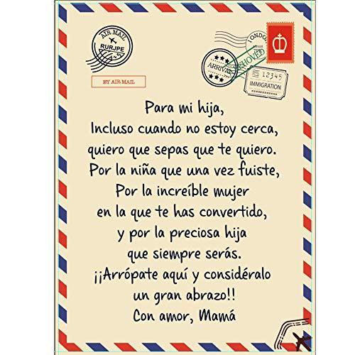Manta de Franela Personalizado Español Letras Manta Sábana para Cama 90° Reversible Extra Suave Mamá Alienta y Ama para Hijo/Hija,Mamá para mi Hija,130 * 150CM