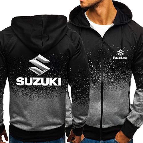 Hoodie Zipper Felpa Uomo - 3D Suzuki Casual Jacket Gradient Stampato Unisex Manica Lunga con Cappuccio -Teen Regalo di Natale B-XX-Large
