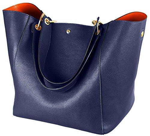Taschen Damen Leder Blau 2018 SQLP Neu Elegant Große Handtasche Europäische Stil Schultertaschen Umhängetasche Shopper Tasche Henkeltasche Beuteltasche Weich Damentasche
