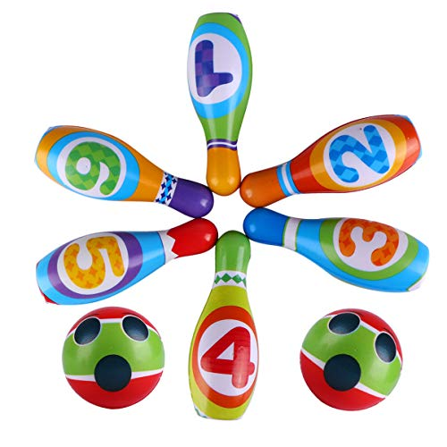 BESPORTBLE 8 Stück Bowling Pins Ball Spielzeug Gedruckt mit Nummer Kleine Plastik Lernspielzeug Geschenke für Baby Kinder Kleinkinder Jungen Mädchen Kinder 3 4 5 6 Jahre Sportübung