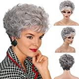 BLONDE UNICORN Ombre Short Grey Human Hair Wigs Curly Hair Wigs for Women