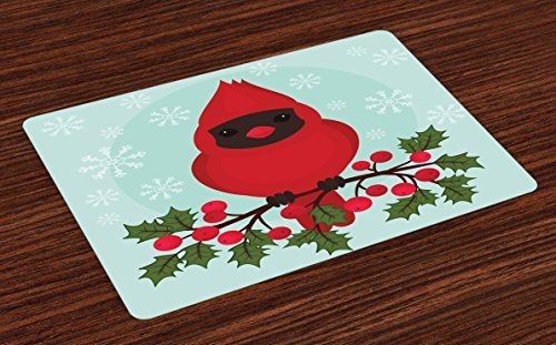 Lunarable Cardinal Place Mats Set of 4, Cartoon Bird Sitting on a Branch of Holly Berry with Snowflake Background, Washable Fabric Placemats for Dining Room Kitchen Table Decor, Teal Fern Green Red