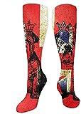 zhouyongz Calcetines deportivos de la corona de Bulldog británico, con la bandera del Reino Unido, calcetines hasta la rodilla para hombres y mujeres, calcetines largos de 50 cm, 50 cm