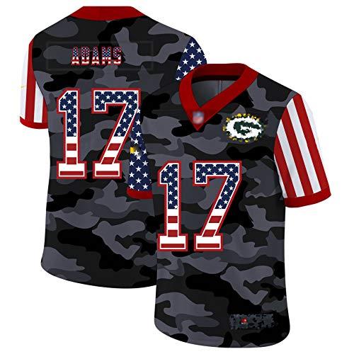 ZHMIAO Adams Männer Rugby Trikots # 17 Packer, American Football Jersey Kurzarm Sport Top Sleeve Komfortables Atmungsaktives Sweatshirt red- XXL(190~195)