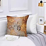 Lilatomer Funda de algodón 45 x 45 cm Día de Colón y Mapa Mundial con brújula Sofá Throw Cojín Almohada Caso de la Cubierta para Sala de Estar 45x45cm