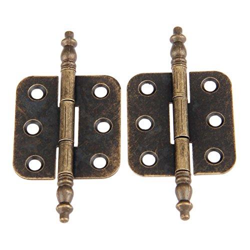 Dophee 2Pcs 35x70mm bronzo antico ferro corona testa 6 fori cerniere per vintage scatola di legno cassetta degli attrezzi armadio