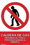 Normaluz RD46618 - Señal Adhesiva Caldera De Gas Prohibido El Paso A Personas Ajenas Al Servicio Adhesivo de Vinilo 10x15 cm