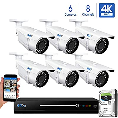 GW 8 Channel 4K NVR 8MP (3840x2160) H.265 PoE Security Camera System - 6 x UltraHD 4K 2.7~13.5mm Varifocal Zoom 196ft IR 2160p IP Cameras - 8 Megapixel (Four Times The Resolution of 1080p Full HD)