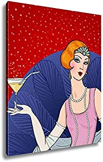 Ashley Canvas Flapper Girl Retro Party Invitation Design Art Deco Women with Glass, Home Office, Ready to Hang, Color 25x20, AG6357688