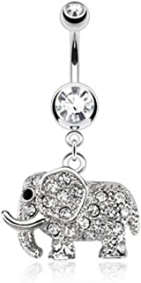 Elephant Multi Paved CZs Dangle 316L Stainless Steel Belly Button Ring (Sold per Piece)