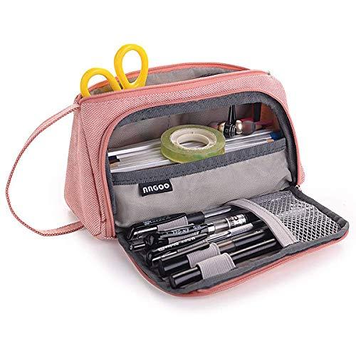 Federmäppchen, Tragbares Federmäppchen mit Großer Kapazität, Langlebige Aufbewahrungsbox mit 2 Reißverschlüssen, Schreibwarenbox 21 * 11 * 8 cm für Schule und Büro (Rosa)
