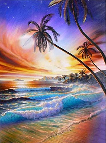 DIY 5d Diamond Painting Kit for Adults Beach Diamond Art Kits for Adults,Paint with Diamonds Relaxation and Home Wall Decor 12 x 16 inch