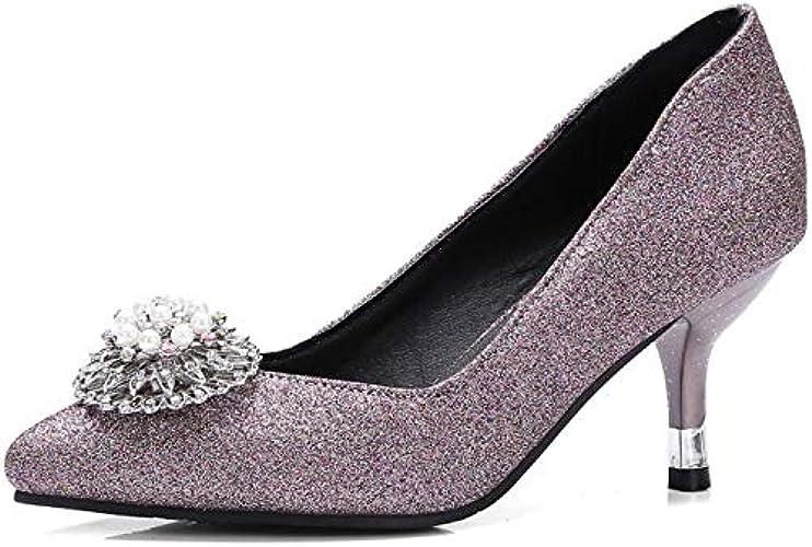 HOESCZS Chaussures à Talons Hauts avec Chaussures De Printemps pour Femmes. Code De Taille 32-48 Verges. Pearl Single Chaussures Femmes