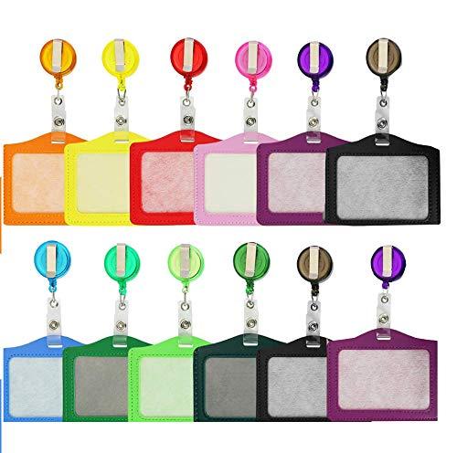 12 Piezas Carrete Retráctil de InsigniaConjunto de tarjeta de identificación ,con Fundas de Soporte de Tarjeta ID para Tarjetas y Llaves
