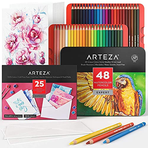 Arteza Blank Watercolor Cards with Envelopes and Watercolor Pencils Bundle, Drawing Art Supplies for Artist, Hobby Painters & Beginners