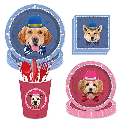 Juego de vajilla de fiesta de 93 piezas, diseño de cachorro/perro, vajilla...