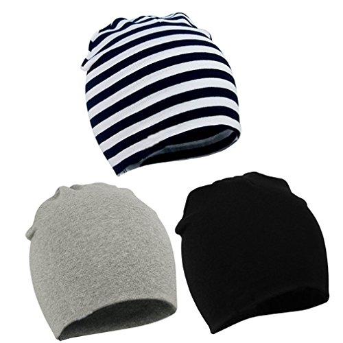 Baby Kinder Jersey Beanie Kinder Baumwolle Hut Mütze Kids Slouchy (3er Set-1) streifen schwarz weiss grau