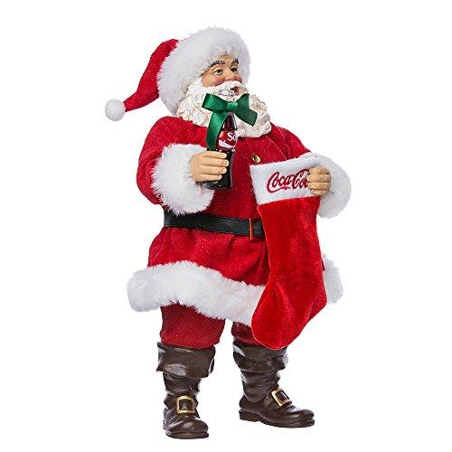 Kurt Adler de Papá Noel con Botella de Coca Cola y calcetín, Rojo