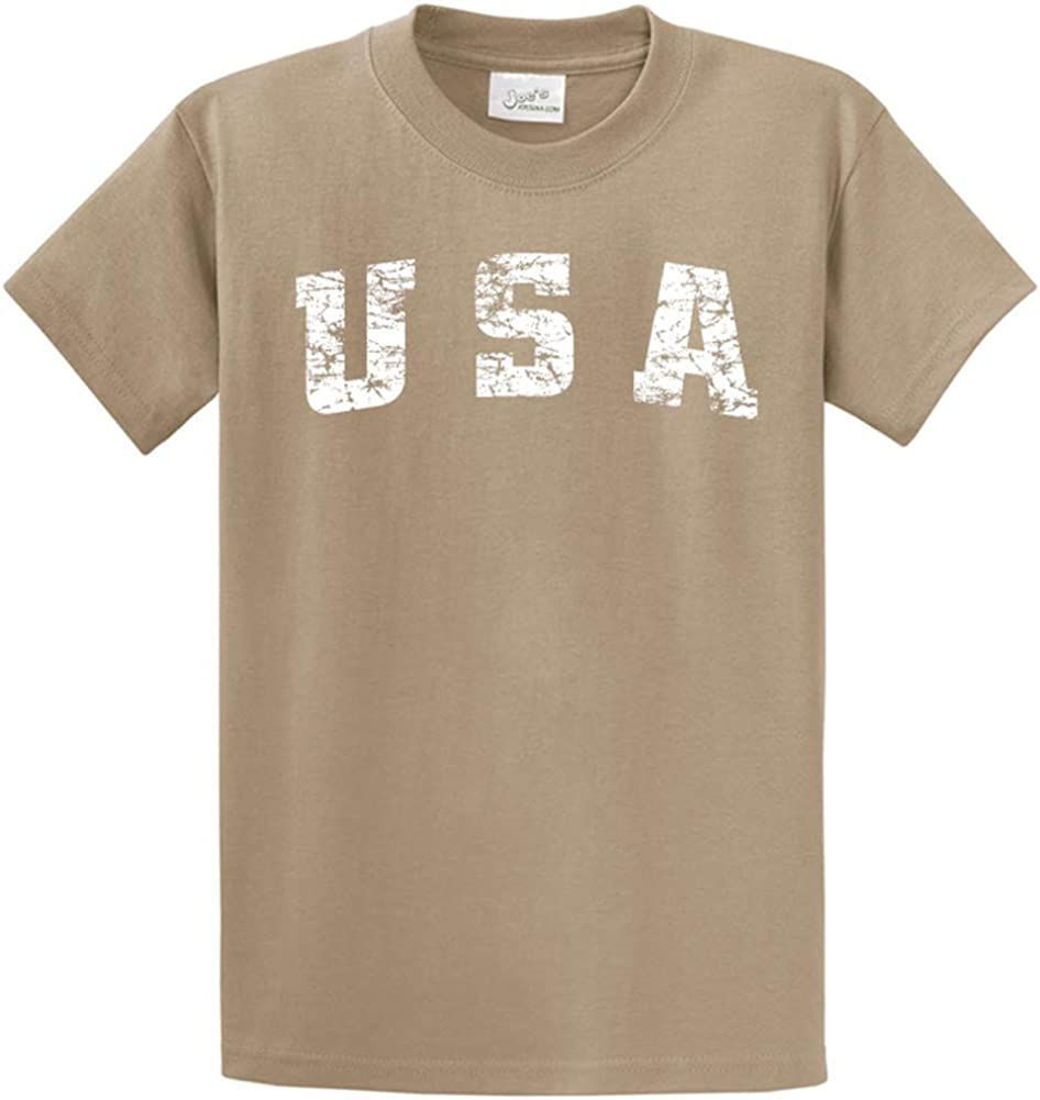 Joe's USA -Tall Vintage USA Logo Tee T-Shirts in Size X-Large Tall -XLT Dusty Brown