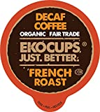 EKOCUPS Decaf French Roast Coffee Pods, Swiss Water Decaffeinated Coffee, Hot or Iced Decaf Coffee, Organic Coffee for Keurig K Cups Machines, Decaf Coffee in Recyclable Pods, 40 Count