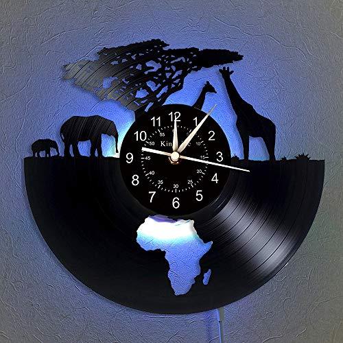 Cheemy Joint Art League House - Reloj de Pared (Vinilo), diseño de Animales de Safari, con LED, 30 * 30cm
