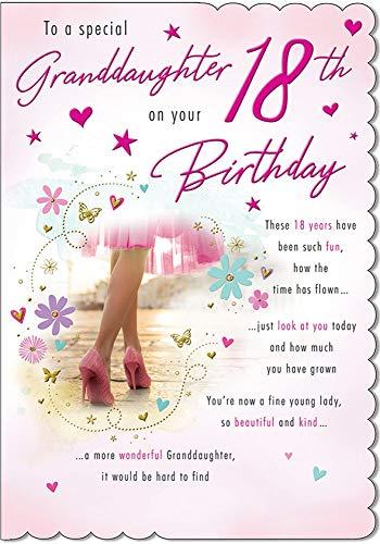 Traditionele mijlpaal verjaardagskaart leeftijd 18 kleindochter - 9 x 6 inch - Piccadilly Greetings