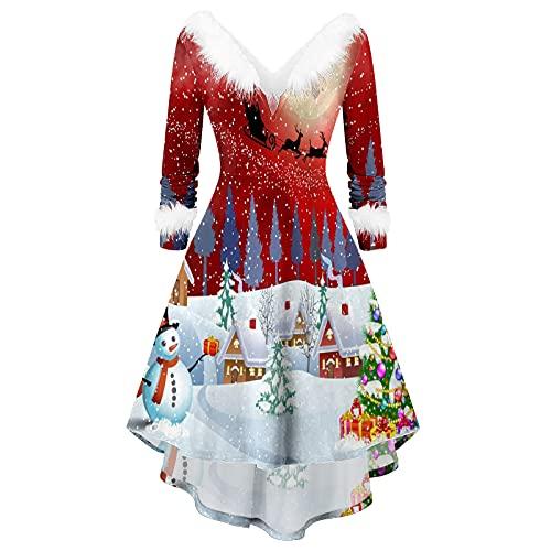 BIBOKAOKE Weihnachtskleider Für Damen V-Ausschnitt Weihnachten Party Kleider Weihnachts Drucken Kostüm Langarm Abendkleid Midi Kleid Tunika Elegant Cocktailkleid Partykleid Pulloverkleid