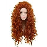 Yuehong Long Curly Orange Wig Heat Resistant Cosplay Wigs Halloween Cos Wig