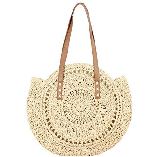 WOTEG - Bolsa de paja redonda para la playa de verano para mujer, de mimbre, bandolera para llevar al hombro, estilo bohemio, hecha a mano para viajes, fecha y vacaciones