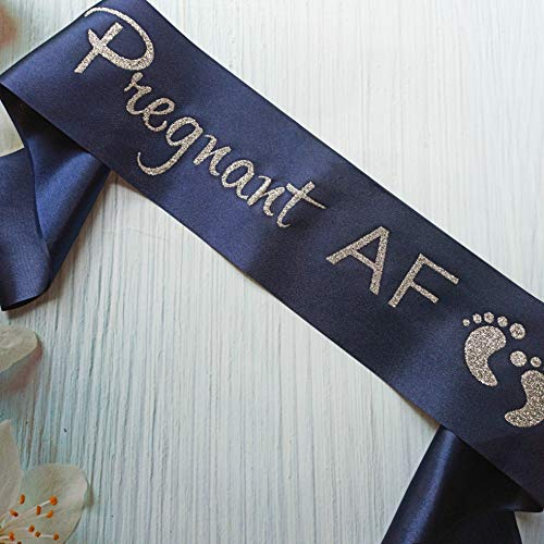Baby Shower Mom Sash, Pregnant AF Sash for Mom to be, Gender Reveal Pregnancy Announcement Boy or Girl Party Decorations Supplies, Future Mummy Gift, Blue