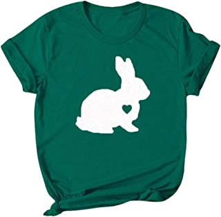Women Cartoon Prtinted T-shirt Tops, Ladies Easter O-neck Short Sleeve Blouse Pullover Top