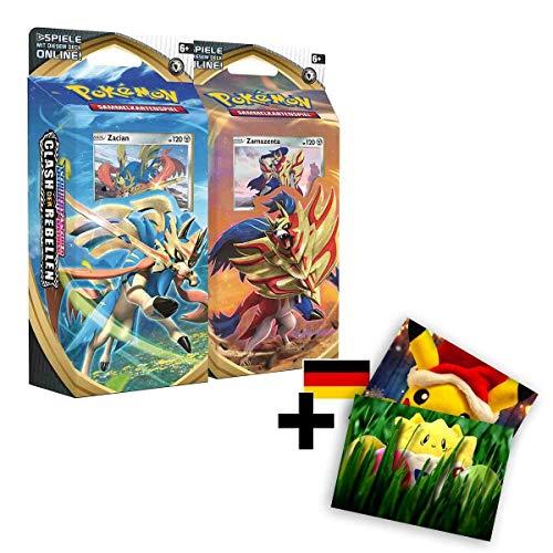 Lively Moments Pokemon Karten 2 Themendecks Schwert & Schild: Clash der Rebellen Zacian und Zamazenta Deutsch DE + Exklusive GRATIS Grußkarte