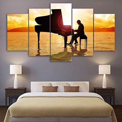 ZSYNB 5 Leinwandbilder Wohnzimmer HD Gedruckt Malerei 5 Panel Sunset Beach Meer Klavier Musik Moderne Wandkunst Bilder Dekoration Poster