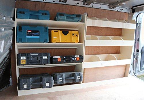 Estantería para furgonetas Vivaro SWB 2015-2019 OS, ligera, de madera contrachapada, en ángulo frontal y trasero para almacenamiento y para colocar herramientas, de Vauxhall.