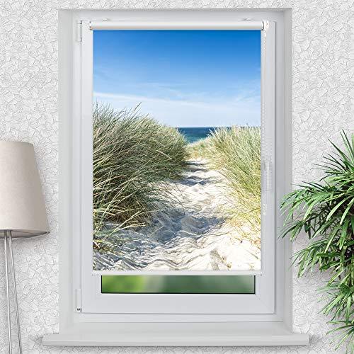 La-Melle » Rollo Motiv Ostsee Düne   Verschiedene Größen   Klemmrollo ohne Bohren   auch für Wand- oder Deckenbefestigung, Größe: B 80 x H 120 cm