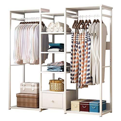 COLiJOL Perchas para Muebles Dormitorio Multifuncional para Colgar Ropa Perchero Alenamiento para Guardarropas con Estantes de Madera (Color: Blanco, Tamaño: 138X30X140Cm),Blanco,el 138X30X140Cm
