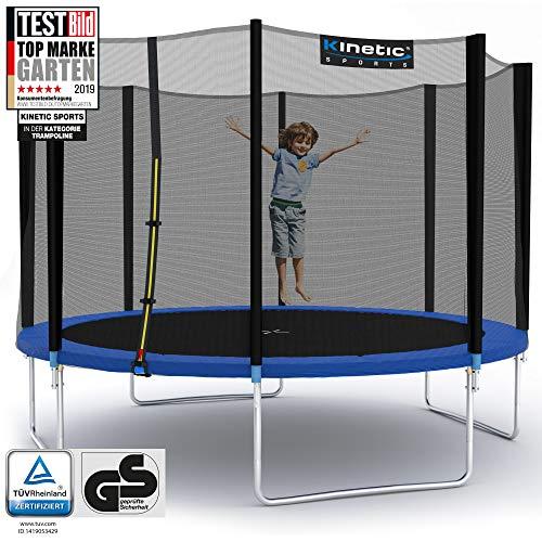 Kinetic Sports Outdoor Gartentrampolin Ø 335 cm, TPLH11, Komplettset inklusive Sprungtuch aus USA PP-Mesh +Sicherheitsnetz +Randabdeckung, bis 150kg, GS-geprüft,UV-beständig, BLAU
