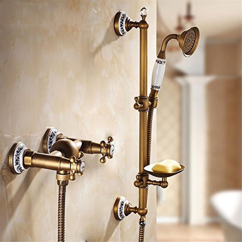 Gyps Faucet Waschtisch-Einhebelmischer Waschtischarmatur BadarmaturMessing Antik Dusche Wasserhahn in der Badewanne Wasser und Mischen von Heiem und kaltem Wasser Badewanne Armatur Kit D,Mischbat