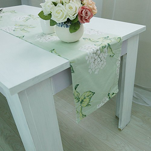XYL HOME European Table Flag European Cotton Table Flag Sizzling Hot White White Flower Cotton Table Cloth Bed Flag, Table Flag Single Layer Flat Head 30 * 180, White Large Green