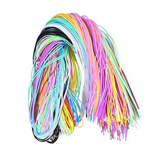 Amindz 200 Piezas Cuerda Trenzada,1.8mm Cuerda Redondos,10 Colores Joyería Cordón Cable,Cuerda de Seda para Bisuteria Abalorios Pulseras