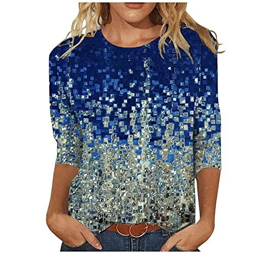 Camiseta de manga larga para mujer, suéter suelto, para vacaciones, con estampado de cartas, cuello en V, suave, agradable a la piel, elegante, vintage, blusa para mujer, azul, M