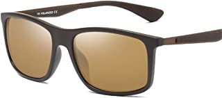 LUKEEXIN Retro Style Men's Polarized Sunglasses Durable Full Frame UV400 Protection Driving Cycling Running Fishing Golf (Color : Brown)