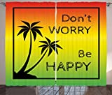Ambesonne Rasta Curtains, Dont Worry Be Happy Music Words of Iconic Singer Palms Ombre Colors, Living Room Bedroom Window Drapes 2 Panel Set, 108' X 63', Lime Green