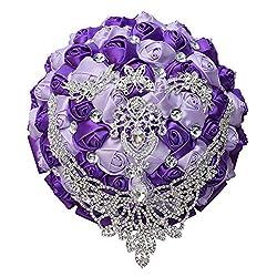 Purple Tassel Diamond Brooch Bride Wedding Bouquet