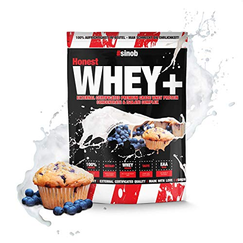 sinob Honest Whey weiproteïne Bosbessenmuffin 1 x 1000 g. 12,5% isolaat. Direct oplosbaar eiwitpoeder met BCAA & EAA Made in Germany