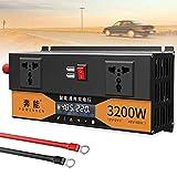 Inversor de energía de onda sinusoidal pura máxima de 2200 W 2600 W 3200 W 12 V / 24 V a 220 V 230 V 240 V Convertidor de voltaje de camión de doble voltaje con puerto USB y conexión directa a la bate