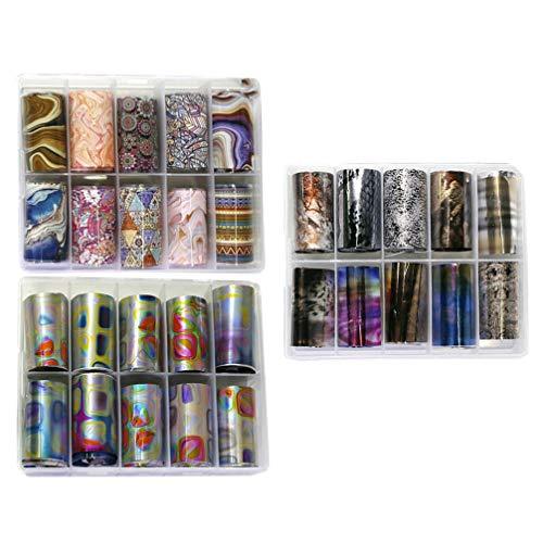 Pixnor 3 Ensembles Nail Art Feuille Autocollants Fleur Nail Art Wraps Autocollants Nail Pochoir Décalcomanies Bricolage Nail Design pour Nail Art Décoration