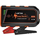 LOFTEK Car Battery Jump Starter (Up to 7.0L Gas or 5.5L Diesel Engine), 1000A Peak Portable Charger 12V Power Pack Auto Battery Booster Car Accessories with Built-in LED Light, Orange